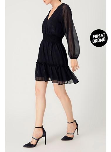 Random Kadın Eteği Volanlı V Yaka Uzun Kollu Lacivert Elbise Lacivert
